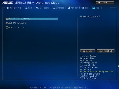 ToolタブのメニューにASUS EZ Flash 2 Utilityは用意されている