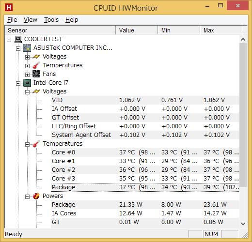 CPU温度を測定したHWMonitor 1.25