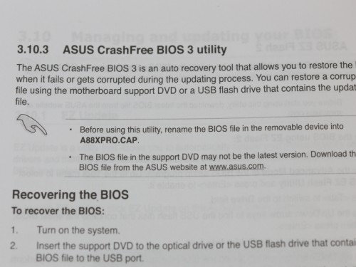 USB BIOS Flashbackの利用には、UEFIファイルを指定された名称にリネームする必要がある。 ファイル名はマザーボード毎に異なっており、マニュアルで確認できる。