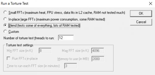 実行するテストの選択画面。