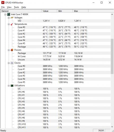 CPUID HWMonitor。CPU温度や動作クロックなどが確認できるモニタリングソフト。